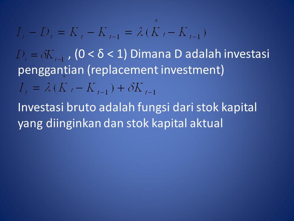 , (0 < δ < 1) Dimana D adalah investasi penggantian (replacement investment) Investasi bruto adalah fungsi dari stok kapital yang diinginkan dan stok