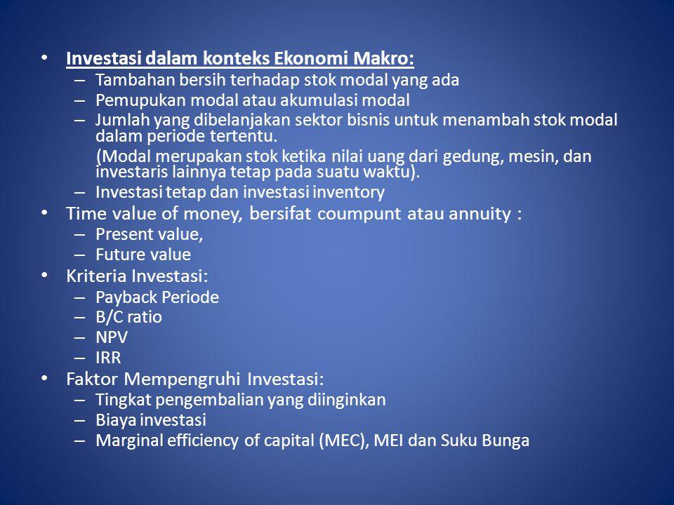 Investasi dalam konteks Ekonomi Makro: – Tambahan bersih terhadap stok modal yang ada – Pemupukan modal atau akumulasi modal – Jumlah yang dibelanjaka