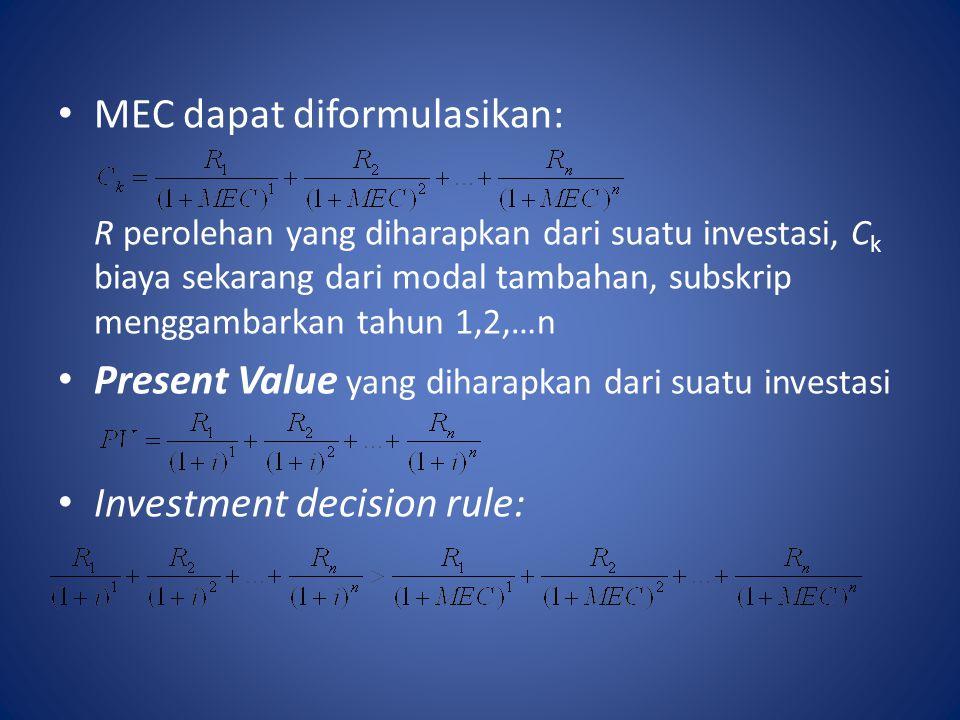 MEC dapat diformulasikan: R perolehan yang diharapkan dari suatu investasi, C k biaya sekarang dari modal tambahan, subskrip menggambarkan tahun 1,2,…