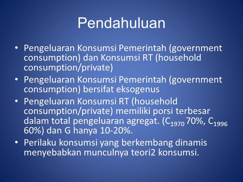 Pendahuluan Pengeluaran Konsumsi Pemerintah (government consumption) dan Konsumsi RT (household consumption/private) Pengeluaran Konsumsi Pemerintah (