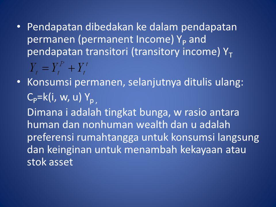 Pendapatan dibedakan ke dalam pendapatan permanen (permanent Income) Y P and pendapatan transitori (transitory income) Y T Konsumsi permanen, selanjut