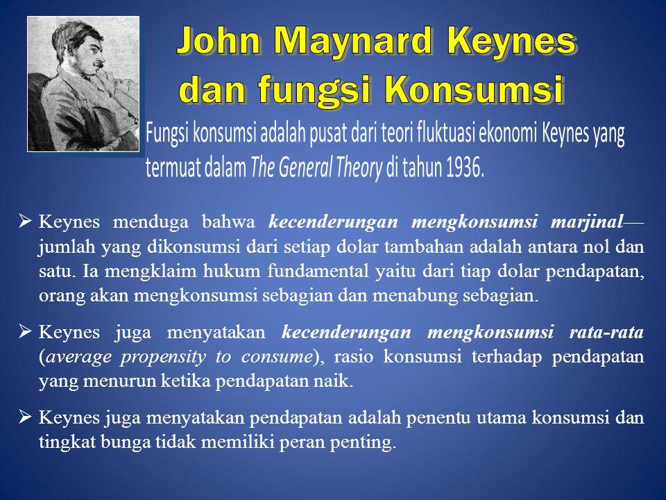  Keynes menduga bahwa kecenderungan mengkonsumsi marjinal— jumlah yang dikonsumsi dari setiap dolar tambahan adalah antara nol dan satu. Ia mengklaim
