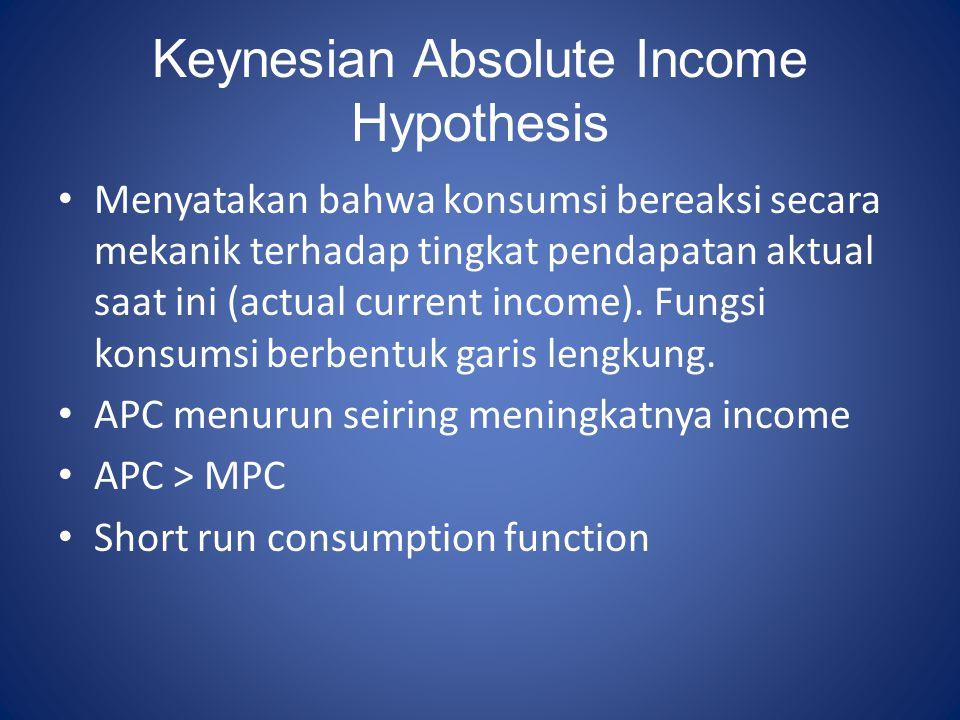 Keynesian Absolute Income Hypothesis Menyatakan bahwa konsumsi bereaksi secara mekanik terhadap tingkat pendapatan aktual saat ini (actual current inc