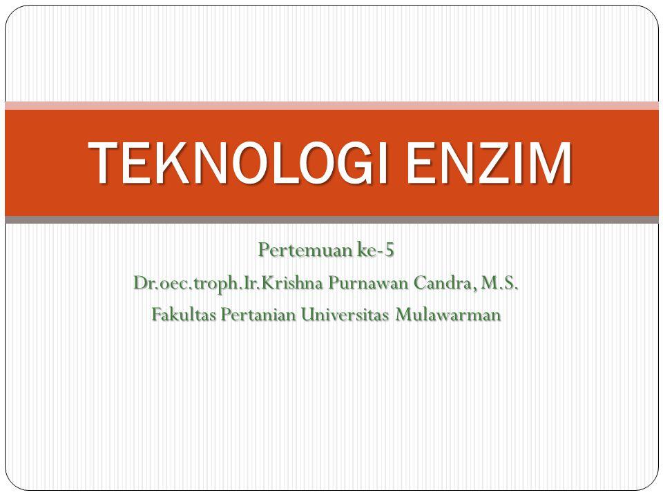 Pertemuan ke-5 Dr.oec.troph.Ir.Krishna Purnawan Candra, M.S. Fakultas Pertanian Universitas Mulawarman TEKNOLOGI ENZIM