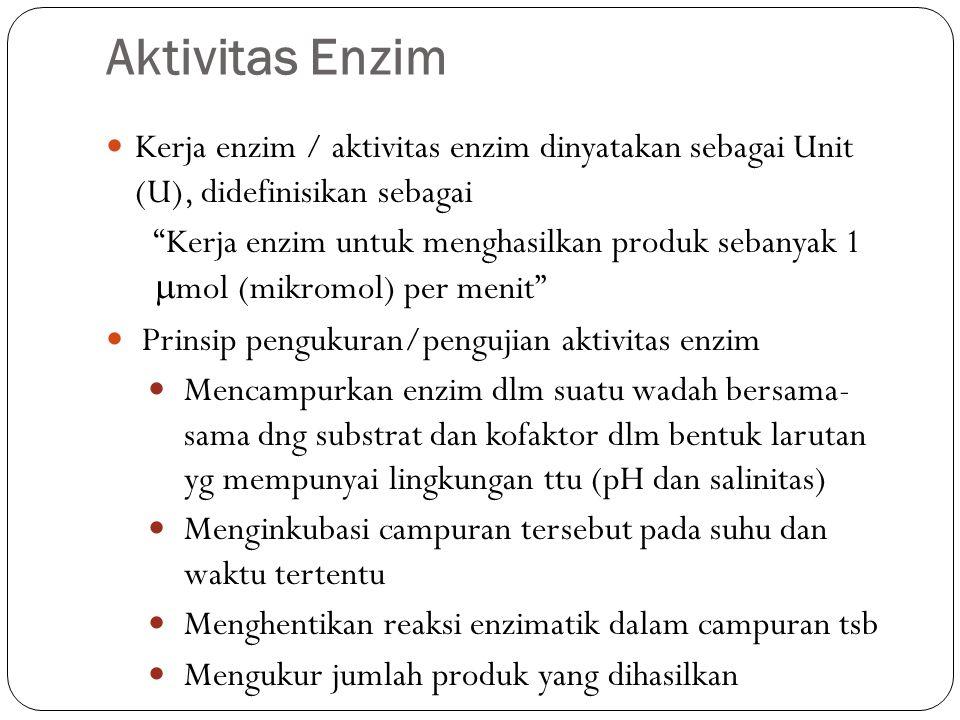 """Aktivitas Enzim Kerja enzim / aktivitas enzim dinyatakan sebagai Unit (U), didefinisikan sebagai """"Kerja enzim untuk menghasilkan produk sebanyak 1  m"""