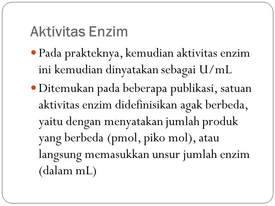Aktivitas Enzim Pada prakteknya, kemudian aktivitas enzim ini kemudian dinyatakan sebagai U/mL Ditemukan pada beberapa publikasi, satuan aktivitas enz
