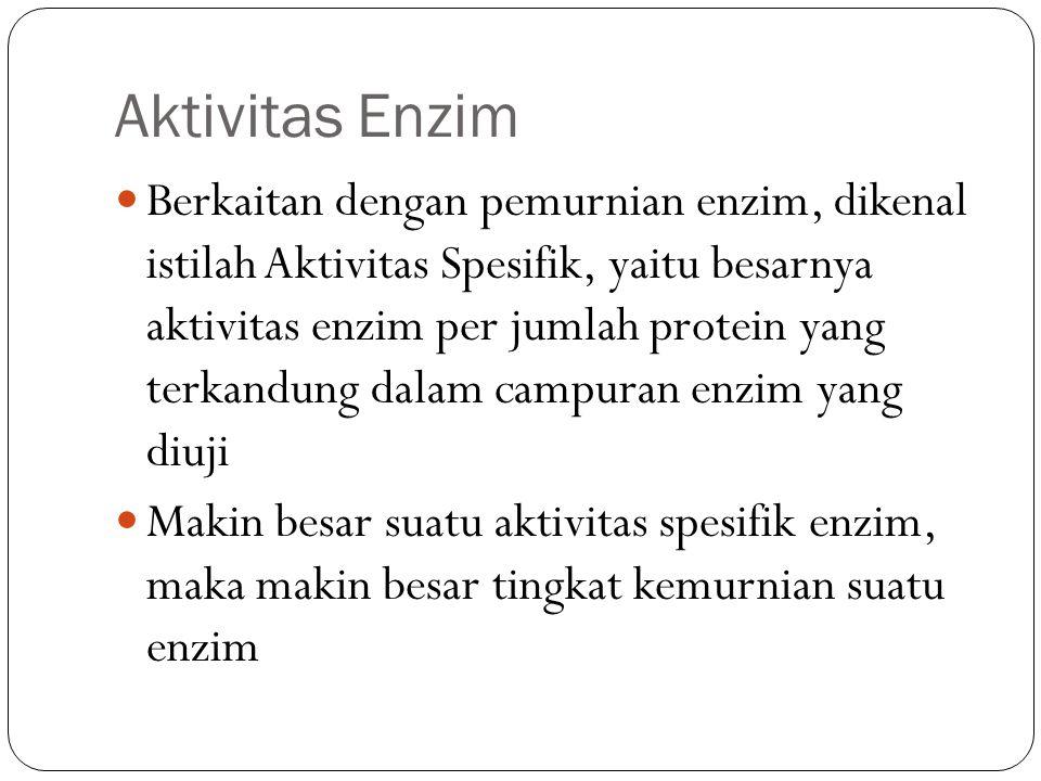 Aktivitas Enzim Berkaitan dengan pemurnian enzim, dikenal istilah Aktivitas Spesifik, yaitu besarnya aktivitas enzim per jumlah protein yang terkandun