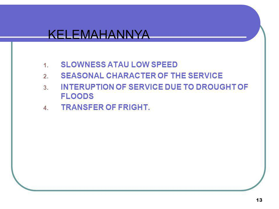 13 1.SLOWNESS ATAU LOW SPEED 2. SEASONAL CHARACTER OF THE SERVICE 3.
