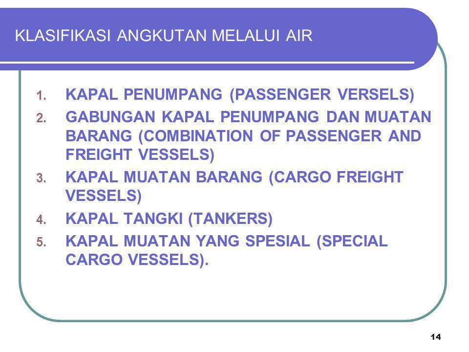 14 KLASIFIKASI ANGKUTAN MELALUI AIR 1. KAPAL PENUMPANG (PASSENGER VERSELS) 2. GABUNGAN KAPAL PENUMPANG DAN MUATAN BARANG (COMBINATION OF PASSENGER AND