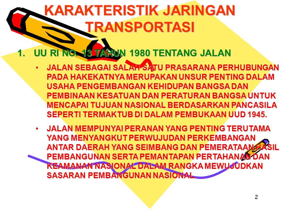 2 KARAKTERISTIK JARINGAN TRANSPORTASI 1.UU RI NO.