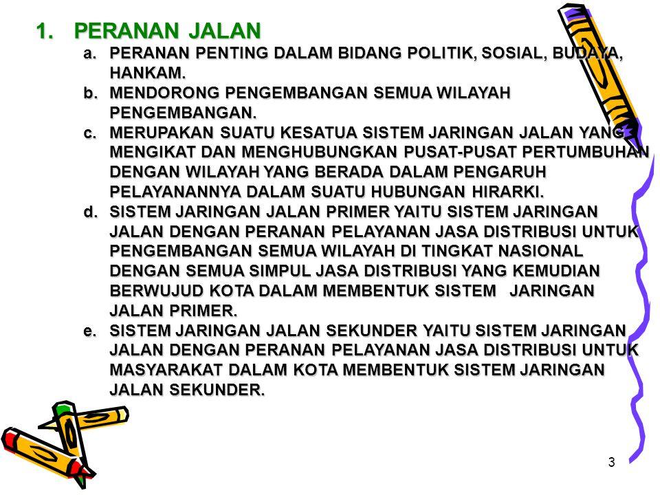 3 1.PERANAN JALAN a.PERANAN PENTING DALAM BIDANG POLITIK, SOSIAL, BUDAYA, HANKAM.