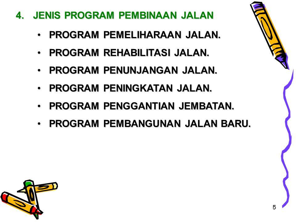 5 4.JENIS PROGRAM PEMBINAAN JALAN PROGRAM PEMELIHARAAN JALAN.PROGRAM PEMELIHARAAN JALAN.