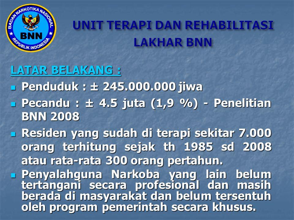 LATAR BELAKANG : Penduduk : ± 245.000.000 jiwa Penduduk : ± 245.000.000 jiwa Pecandu : ± 4.5 juta (1,9 %) - Penelitian BNN 2008 Pecandu : ± 4.5 juta (