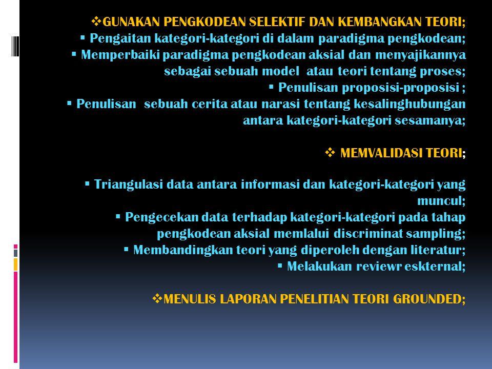  LAKUKAN PENGKODEAN DATA;  Identifikasi kategori-kategori pengkodean terbuka;  Gunakan pendekatan perbandingan berkelanjutan untuk mencapai titik j