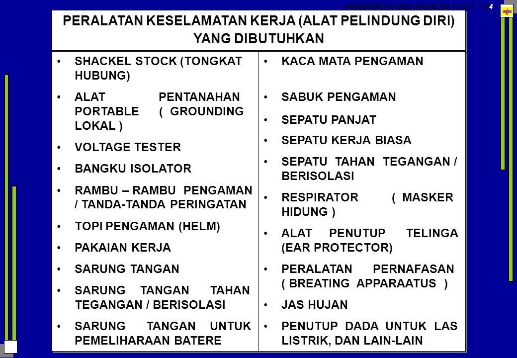 PROSEDUR K3 PADA INSTALASI TT/TET - 174 PERALATAN KESELAMATAN KERJA (ALAT PELINDUNG DIRI) YANG DIBUTUHKAN SHACKEL STOCK (TONGKAT HUBUNG) ALAT PENTANAH