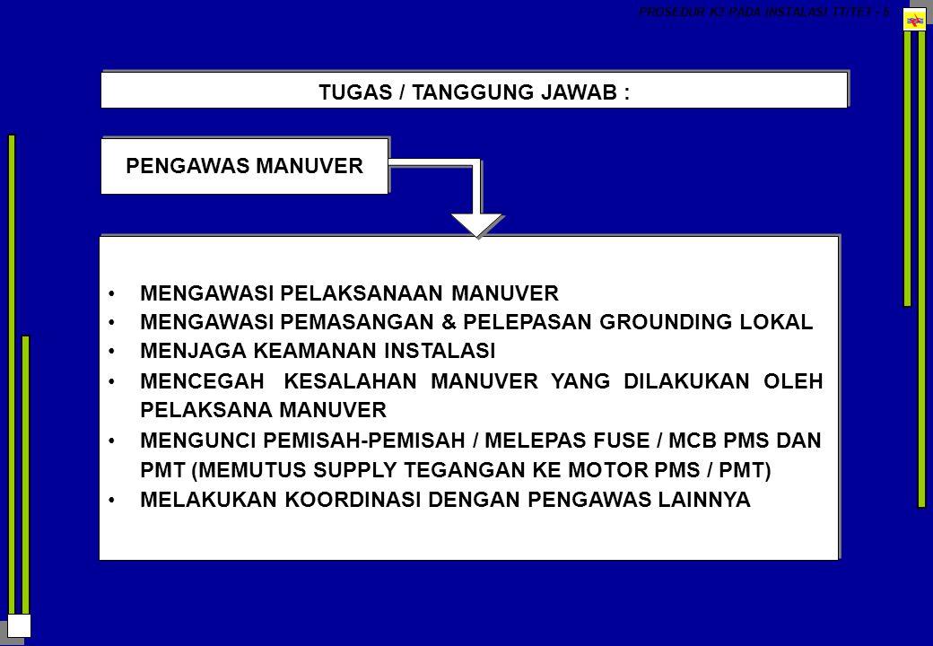 PENGAWAS K3 PROSEDUR K3 PADA INSTALASI TT/TET - 6 MEMERIKSA KONDISI PETUGAS SEBELUM BEKERJA MENGAWASI KONDISI / TEMPAT - TEMPAT YANG BERBAHAYA (UNSAFE CONDITION) MENGAWASI TINGKAH LAKU / SIKAP YANG BERBAHAYA (UNSAFE ACT) MENYIAPKAN / MENGAWASI PEMAKAIAN ALAT-ALAT PELINDUNG DIRI MEMASANG RAMBU-RAMBU PENGAMAN (BERTANGGUNG JAWAB TERHADAP PEMASANGAN / PELEPASAN RAMBU-RAMBU) MENGADAKAN KOORDINASI DENGAN PENGAWAS LAINNYA MEMERIKSA KONDISI PETUGAS SEBELUM BEKERJA MENGAWASI KONDISI / TEMPAT - TEMPAT YANG BERBAHAYA (UNSAFE CONDITION) MENGAWASI TINGKAH LAKU / SIKAP YANG BERBAHAYA (UNSAFE ACT) MENYIAPKAN / MENGAWASI PEMAKAIAN ALAT-ALAT PELINDUNG DIRI MEMASANG RAMBU-RAMBU PENGAMAN (BERTANGGUNG JAWAB TERHADAP PEMASANGAN / PELEPASAN RAMBU-RAMBU) MENGADAKAN KOORDINASI DENGAN PENGAWAS LAINNYA TUGAS / TANGGUNG JAWAB :