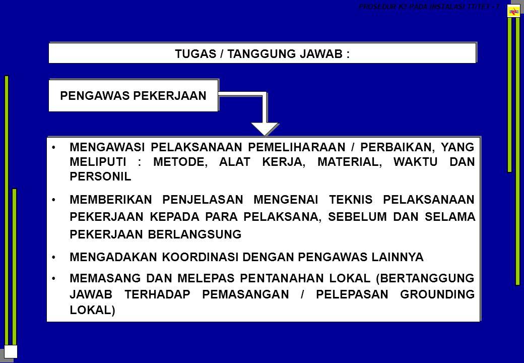 PROSEDUR K3 PADA INSTALASI TT/TET - 174 PERALATAN KESELAMATAN KERJA (ALAT PELINDUNG DIRI) YANG DIBUTUHKAN SHACKEL STOCK (TONGKAT HUBUNG) ALAT PENTANAHAN PORTABLE ( GROUNDING LOKAL ) VOLTAGE TESTER BANGKU ISOLATOR RAMBU – RAMBU PENGAMAN / TANDA-TANDA PERINGATAN TOPI PENGAMAN (HELM) PAKAIAN KERJA SARUNG TANGAN SARUNG TANGAN TAHAN TEGANGAN / BERISOLASI SARUNG TANGAN UNTUK PEMELIHARAAN BATERE SHACKEL STOCK (TONGKAT HUBUNG) ALAT PENTANAHAN PORTABLE ( GROUNDING LOKAL ) VOLTAGE TESTER BANGKU ISOLATOR RAMBU – RAMBU PENGAMAN / TANDA-TANDA PERINGATAN TOPI PENGAMAN (HELM) PAKAIAN KERJA SARUNG TANGAN SARUNG TANGAN TAHAN TEGANGAN / BERISOLASI SARUNG TANGAN UNTUK PEMELIHARAAN BATERE KACA MATA PENGAMAN SABUK PENGAMAN SEPATU PANJAT SEPATU KERJA BIASA SEPATU TAHAN TEGANGAN / BERISOLASI RESPIRATOR ( MASKER HIDUNG ) ALAT PENUTUP TELINGA (EAR PROTECTOR) PERALATAN PERNAFASAN ( BREATING APPARAATUS ) JAS HUJAN PENUTUP DADA UNTUK LAS LISTRIK, DAN LAIN-LAIN KACA MATA PENGAMAN SABUK PENGAMAN SEPATU PANJAT SEPATU KERJA BIASA SEPATU TAHAN TEGANGAN / BERISOLASI RESPIRATOR ( MASKER HIDUNG ) ALAT PENUTUP TELINGA (EAR PROTECTOR) PERALATAN PERNAFASAN ( BREATING APPARAATUS ) JAS HUJAN PENUTUP DADA UNTUK LAS LISTRIK, DAN LAIN-LAIN