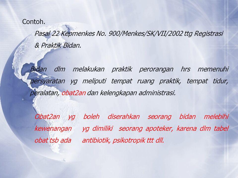 Contoh. Pasal 22 Kepmenkes No. 900/Menkes/SK/VII/2002 ttg Registrasi & Praktik Bidan. Bidan dlm melakukan praktik perorangan hrs memenuhi persyaratan