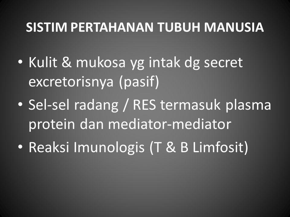 SISTIM PERTAHANAN TUBUH MANUSIA Kulit & mukosa yg intak dg secret excretorisnya (pasif) Sel-sel radang / RES termasuk plasma protein dan mediator-medi