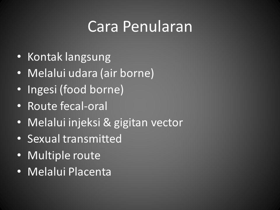 Cara Penularan Kontak langsung Melalui udara (air borne) Ingesi (food borne) Route fecal-oral Melalui injeksi & gigitan vector Sexual transmitted Mult