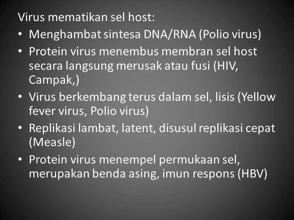 Virus mematikan sel host: Menghambat sintesa DNA/RNA (Polio virus) Protein virus menembus membran sel host secara langsung merusak atau fusi (HIV, Cam