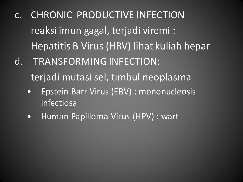 c.CHRONIC PRODUCTIVE INFECTION reaksi imun gagal, terjadi viremi : Hepatitis B Virus (HBV) lihat kuliah hepar d. TRANSFORMING INFECTION: terjadi mutas