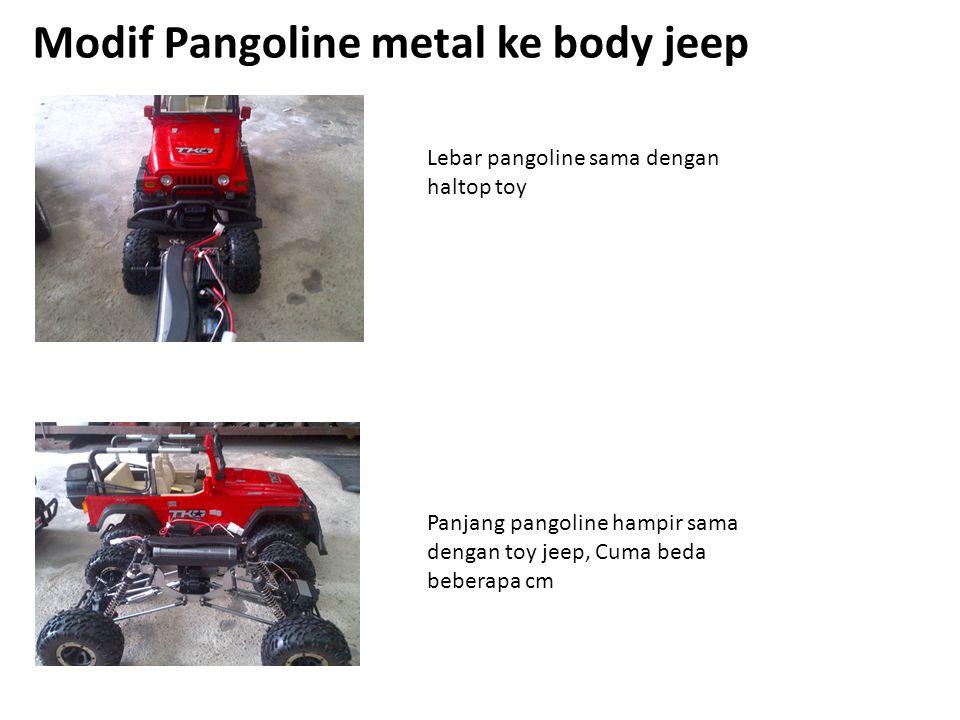 Modif Pangoline metal ke body jeep Lebar pangoline sama dengan haltop toy Panjang pangoline hampir sama dengan toy jeep, Cuma beda beberapa cm