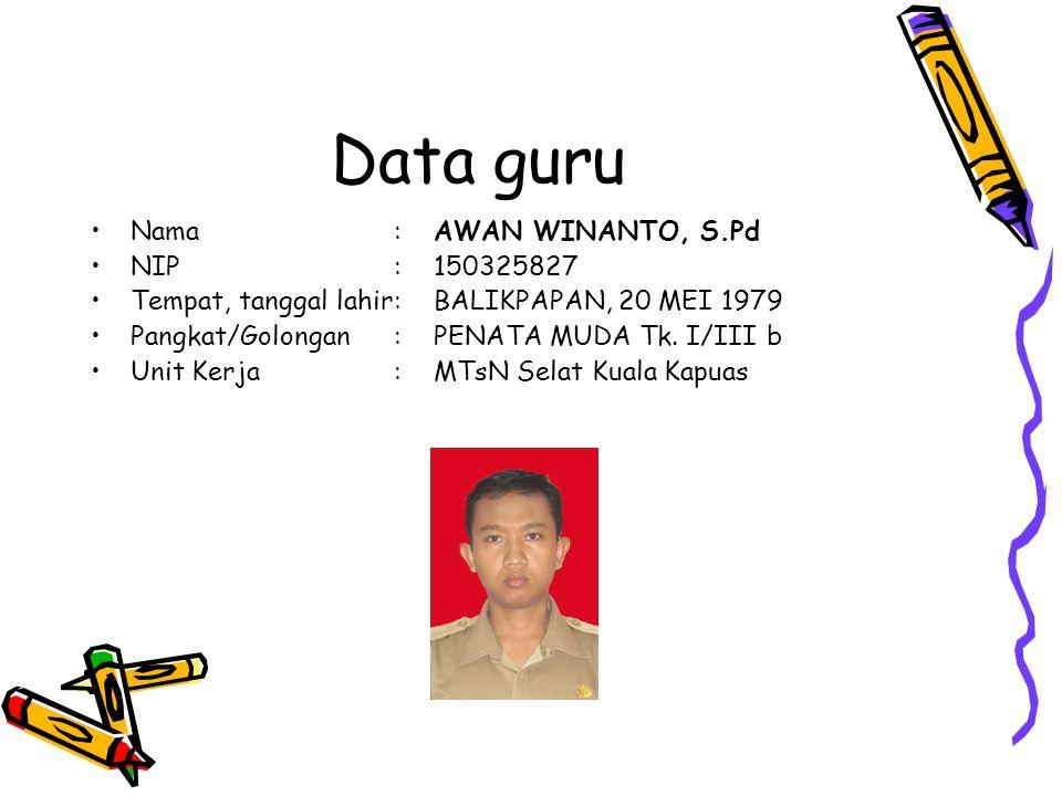 Data guru Nama:AWAN WINANTO, S.Pd NIP:150325827 Tempat, tanggal lahir:BALIKPAPAN, 20 MEI 1979 Pangkat/Golongan:PENATA MUDA Tk.