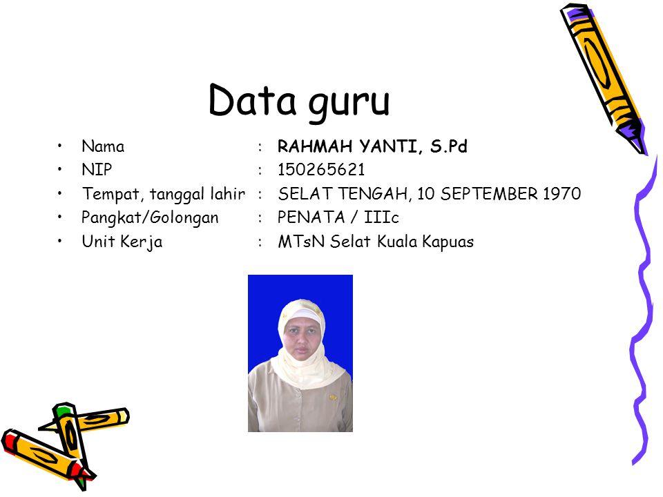 Data guru Nama:RAHMAH YANTI, S.Pd NIP:150265621 Tempat, tanggal lahir:SELAT TENGAH, 10 SEPTEMBER 1970 Pangkat/Golongan:PENATA / IIIc Unit Kerja:MTsN Selat Kuala Kapuas