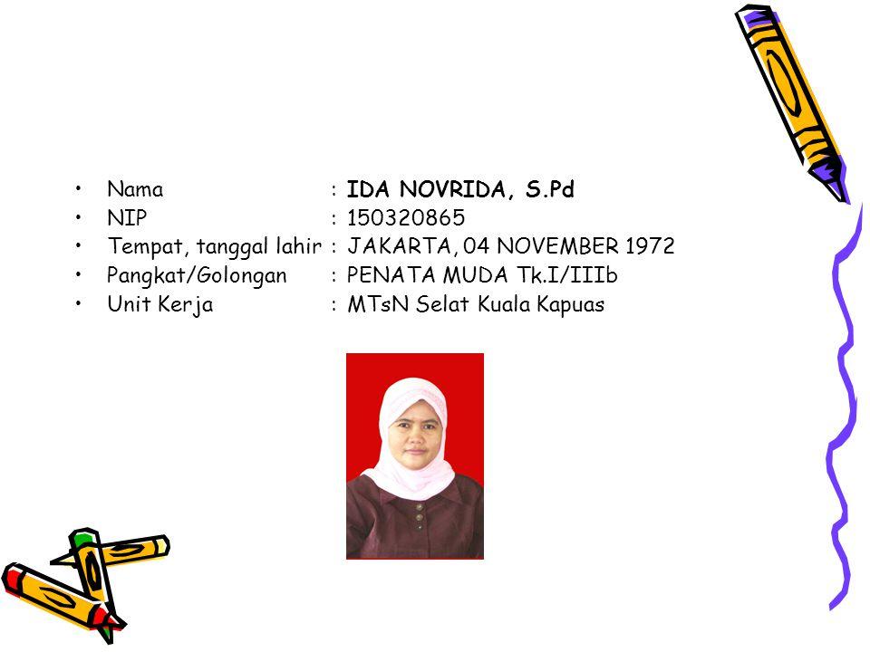 Nama:IDA NOVRIDA, S.Pd NIP:150320865 Tempat, tanggal lahir:JAKARTA, 04 NOVEMBER 1972 Pangkat/Golongan:PENATA MUDA Tk.I/IIIb Unit Kerja:MTsN Selat Kuala Kapuas