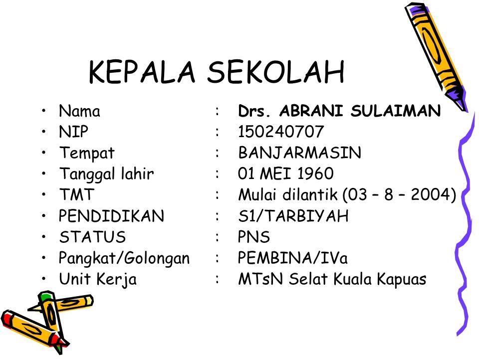 Nama:SRI EKAWATI, S.Pd NIP:150357064 Tempat, tanggal lahir:ANJIR SERAPAT, 12 APRIL 1978 Pangkat/Golongan:PANATA MUDA/IIIa Unit Kerja:MTsN Selat Kuala Kapuas