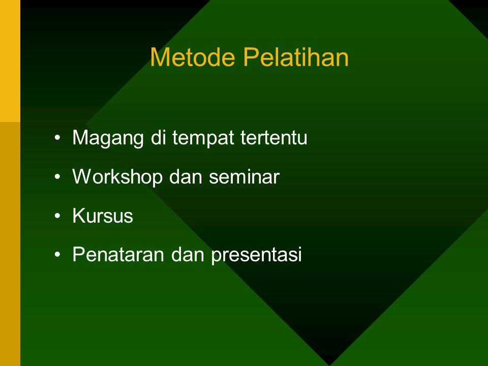 Metode Pelatihan Magang di tempat tertentu Workshop dan seminar Kursus Penataran dan presentasi
