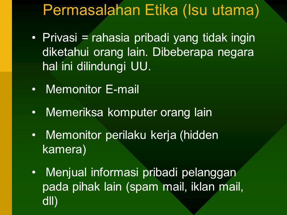 Permasalahan Etika (Isu utama) Privasi = rahasia pribadi yang tidak ingin diketahui orang lain.