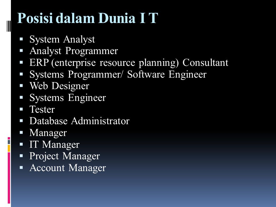 Posisi dalam Dunia I T  System Analyst  Analyst Programmer  ERP (enterprise resource planning) Consultant  Systems Programmer/ Software Engineer 