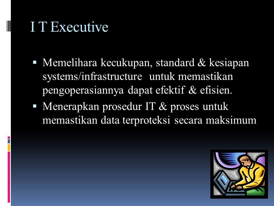 I T Executive  Memelihara kecukupan, standard & kesiapan systems/infrastructure untuk memastikan pengoperasiannya dapat efektif & efisien.  Menerapk