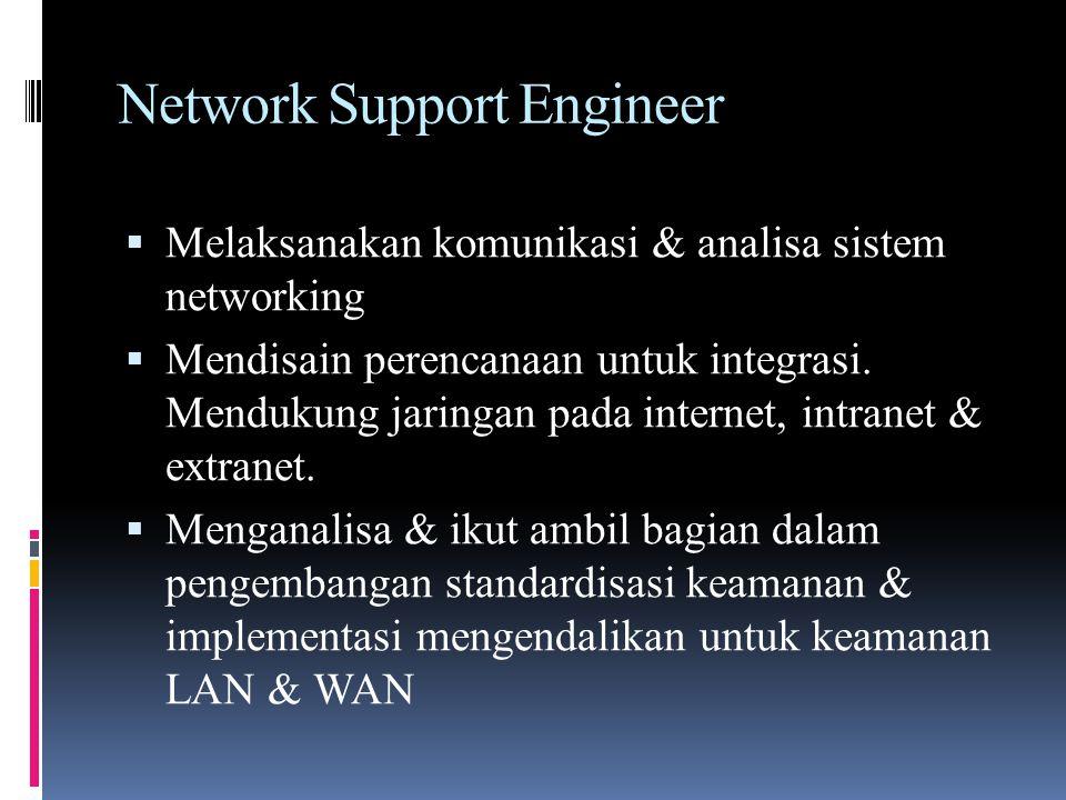 Network Support Engineer  Melaksanakan komunikasi & analisa sistem networking  Mendisain perencanaan untuk integrasi. Mendukung jaringan pada intern