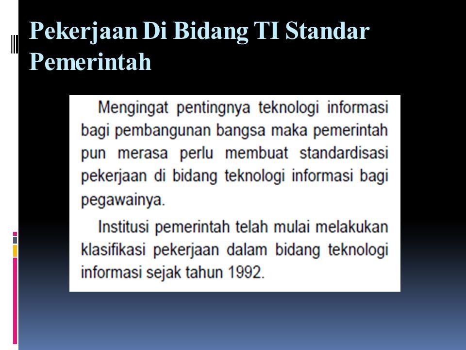 Pekerjaan Di Bidang TI Standar Pemerintah