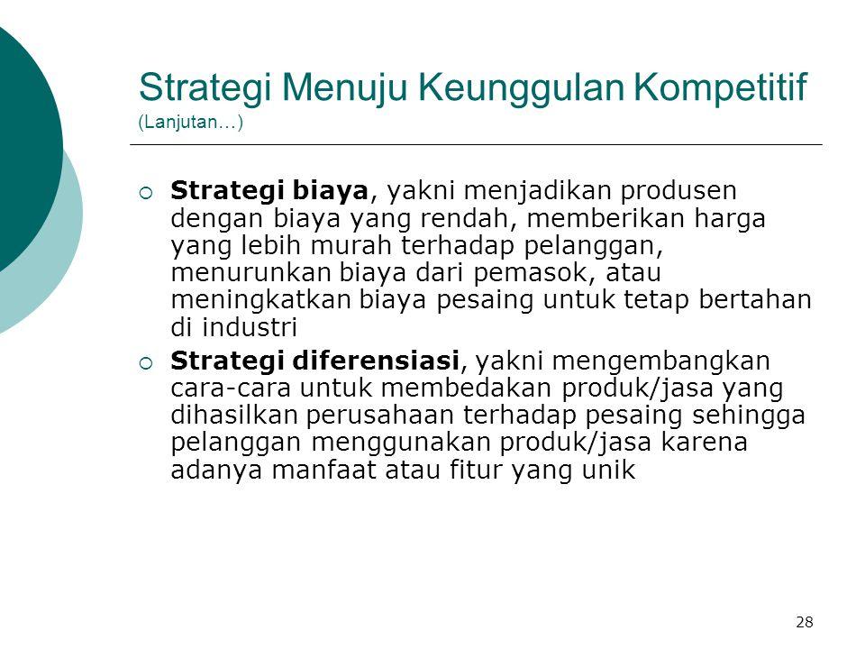 28 Strategi Menuju Keunggulan Kompetitif (Lanjutan…)  Strategi biaya, yakni menjadikan produsen dengan biaya yang rendah, memberikan harga yang lebih