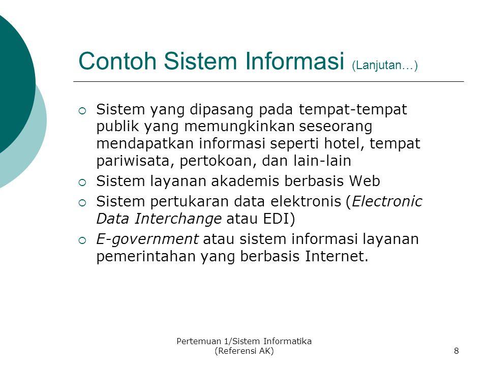 Pertemuan 1/Sistem Informatika (Referensi AK)8 Contoh Sistem Informasi (Lanjutan…)  Sistem yang dipasang pada tempat-tempat publik yang memungkinkan