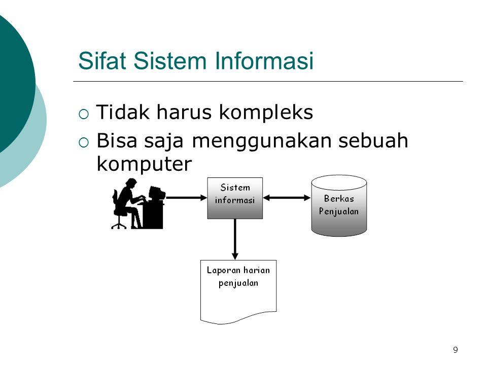 9 Sifat Sistem Informasi  Tidak harus kompleks  Bisa saja menggunakan sebuah komputer
