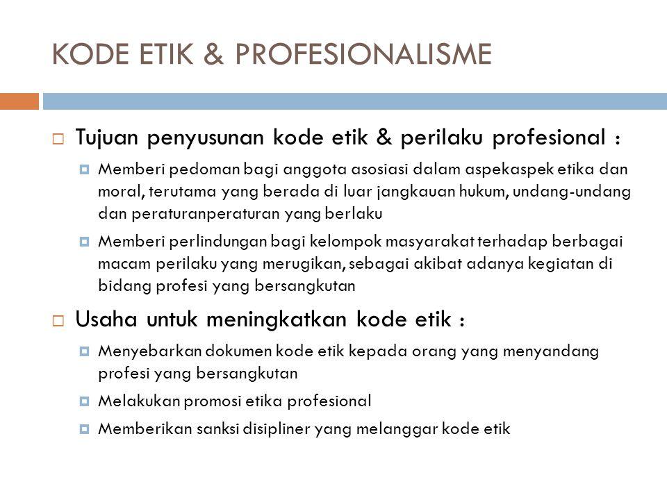 KODE ETIK & PROFESIONALISME  Tujuan penyusunan kode etik & perilaku profesional :  Memberi pedoman bagi anggota asosiasi dalam aspekaspek etika dan