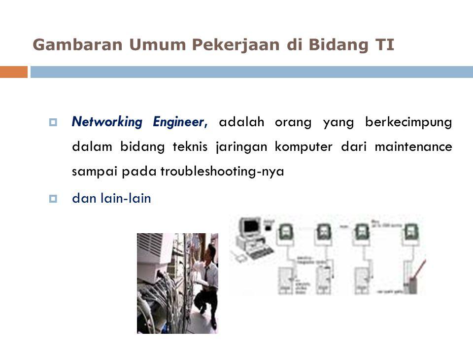  Networking Engineer, adalah orang yang berkecimpung dalam bidang teknis jaringan komputer dari maintenance sampai pada troubleshooting-nya  dan lai