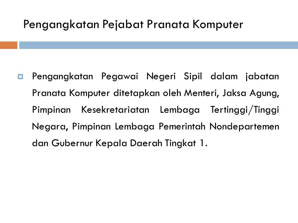 Pengangkatan Pejabat Pranata Komputer  Pengangkatan Pegawai Negeri Sipil dalam jabatan Pranata Komputer ditetapkan oleh Menteri, Jaksa Agung, Pimpina