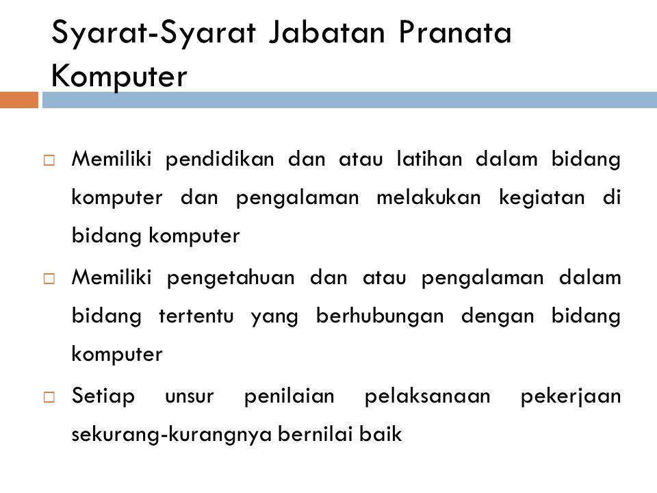 Syarat-Syarat Jabatan Pranata Komputer  Memiliki pendidikan dan atau latihan dalam bidang komputer dan pengalaman melakukan kegiatan di bidang komput
