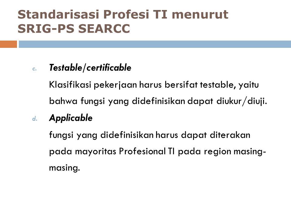 c. Testable/certificable Klasifikasi pekerjaan harus bersifat testable, yaitu bahwa fungsi yang didefinisikan dapat diukur/diuji. d. Applicable fungsi