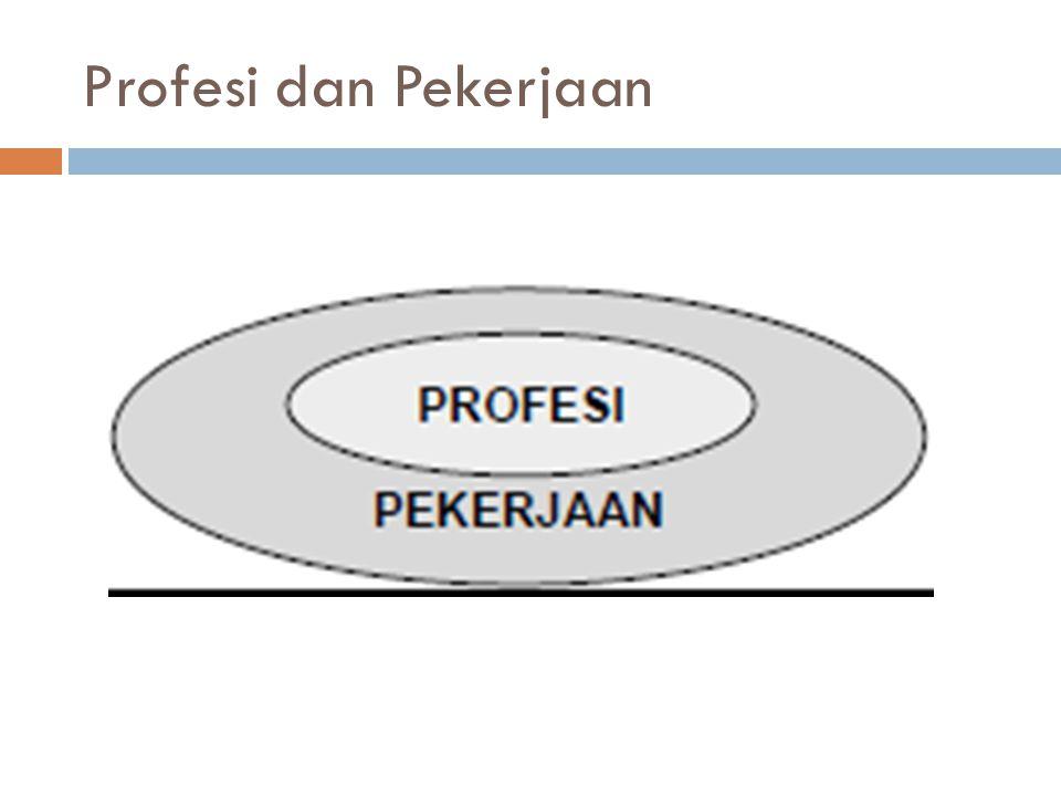 Profesi & Profesional (1)  Seorang pelaku profesi harus memiliki sifat-sifat berikut: a.