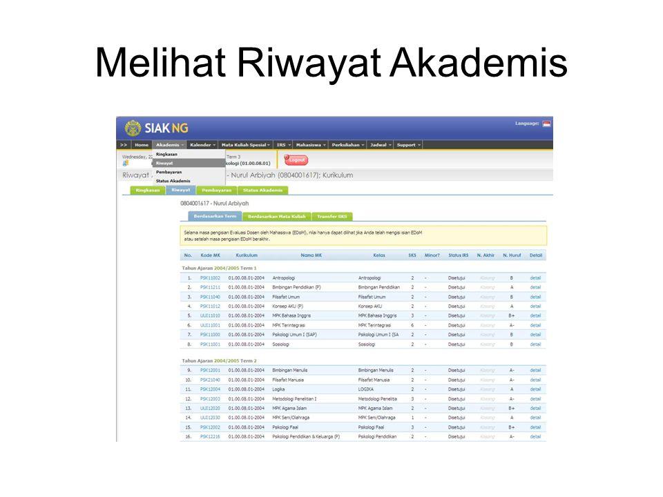 Melihat Riwayat Akademis