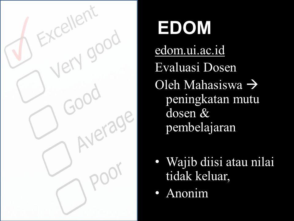 EDOM edom.ui.ac.id Evaluasi Dosen Oleh Mahasiswa  peningkatan mutu dosen & pembelajaran Wajib diisi atau nilai tidak keluar, Anonim