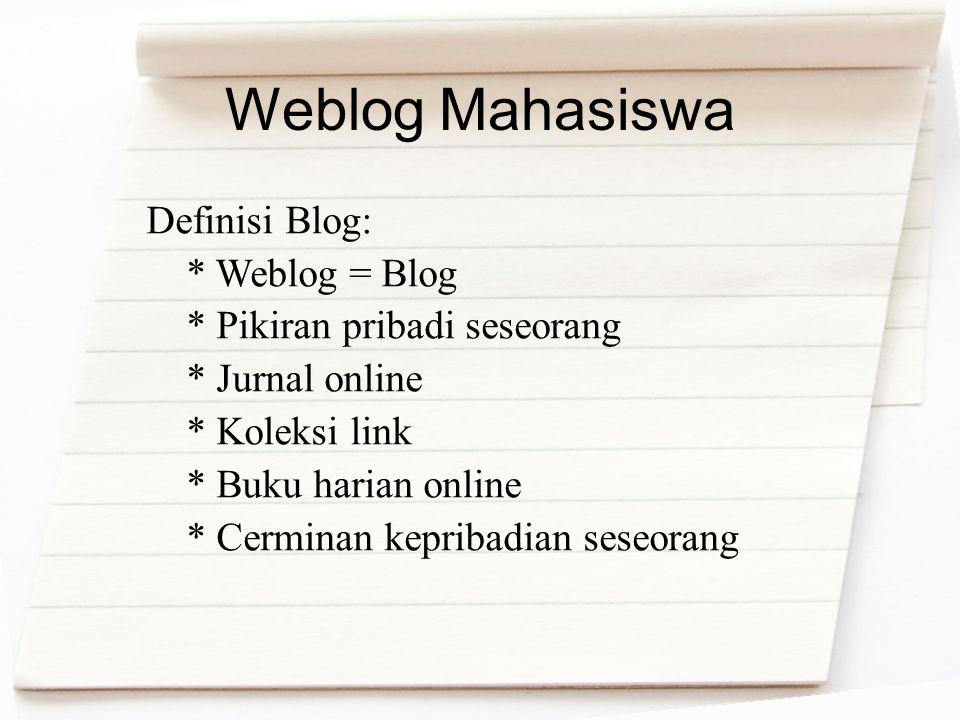 Weblog Mahasiswa Definisi Blog: * Weblog = Blog * Pikiran pribadi seseorang * Jurnal online * Koleksi link * Buku harian online * Cerminan kepribadian