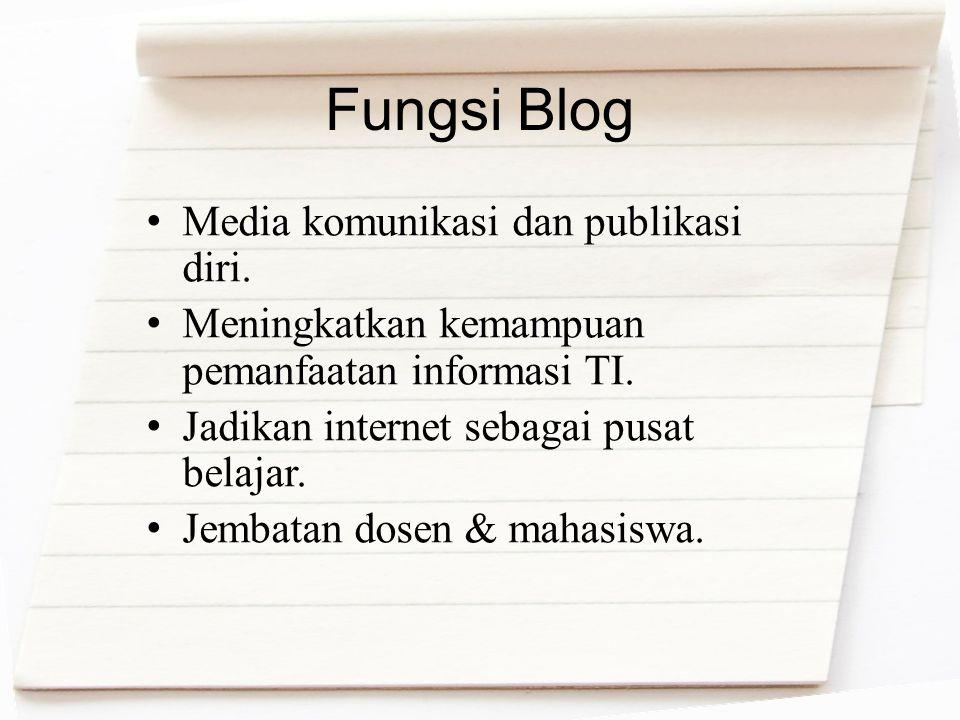 Fungsi Blog Media komunikasi dan publikasi diri. Meningkatkan kemampuan pemanfaatan informasi TI. Jadikan internet sebagai pusat belajar. Jembatan dos